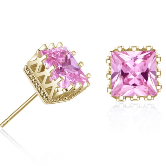 8eeb1941cc3cb Light Pink Crystal Square 14K Gold Stud Earrings Boutique